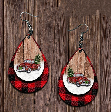 Christmas tree car printing leather drop earrings wholesale Nihaojewelry  NHQIY421666's discount tags