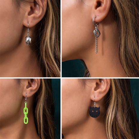 punk skull geometric hollow Halloween earrings wholesale nihaojewelry NHXR421667's discount tags
