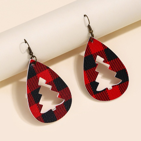 new Christmas water drop lattice leather earrings wholesale Nihaojewelry  NHQIY421672's discount tags