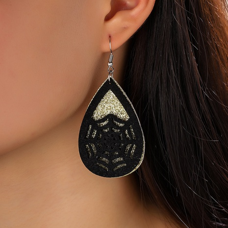Halloween water droplets double sequins spider web silhouette earrings wholesale Nihaojewelry  NHQIY421674's discount tags