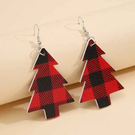 new double-sided Christmas tree red lattice leather earrings wholesale Nihaojewelry  NHQIY421677's discount tags