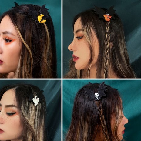creative Halloween party funny pumpkin skull hairpin wholesale nihaojewelry NHXR421683's discount tags