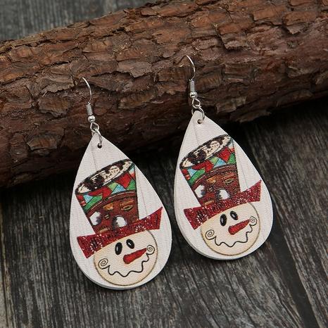 Christmas Water Drop Cartoon Snow Leather Earrings Wholesale Nihaojewelry  NHQIY421684's discount tags
