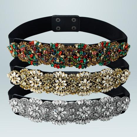 retro elastic woven inlaid diamond girdle wholesale Nihaojewelry  NHLN422268's discount tags