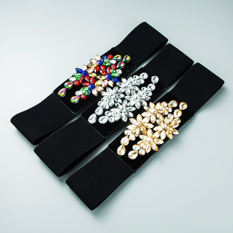 Elastic woven inlaid gem elastic belt wholesale Nihaojewelry  NHLN422084's discount tags