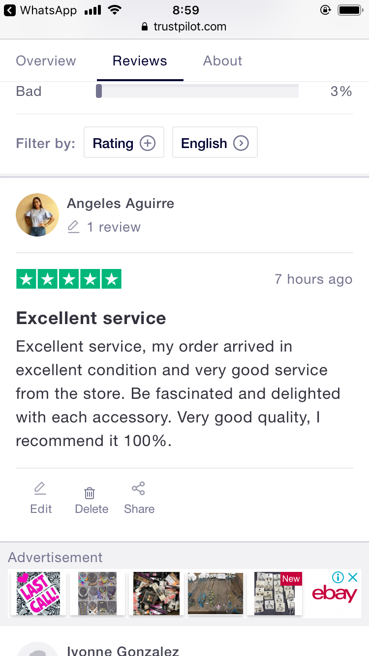 Excellent service, I was delighted with all the accessories that came to me.  I recommend them 100%.